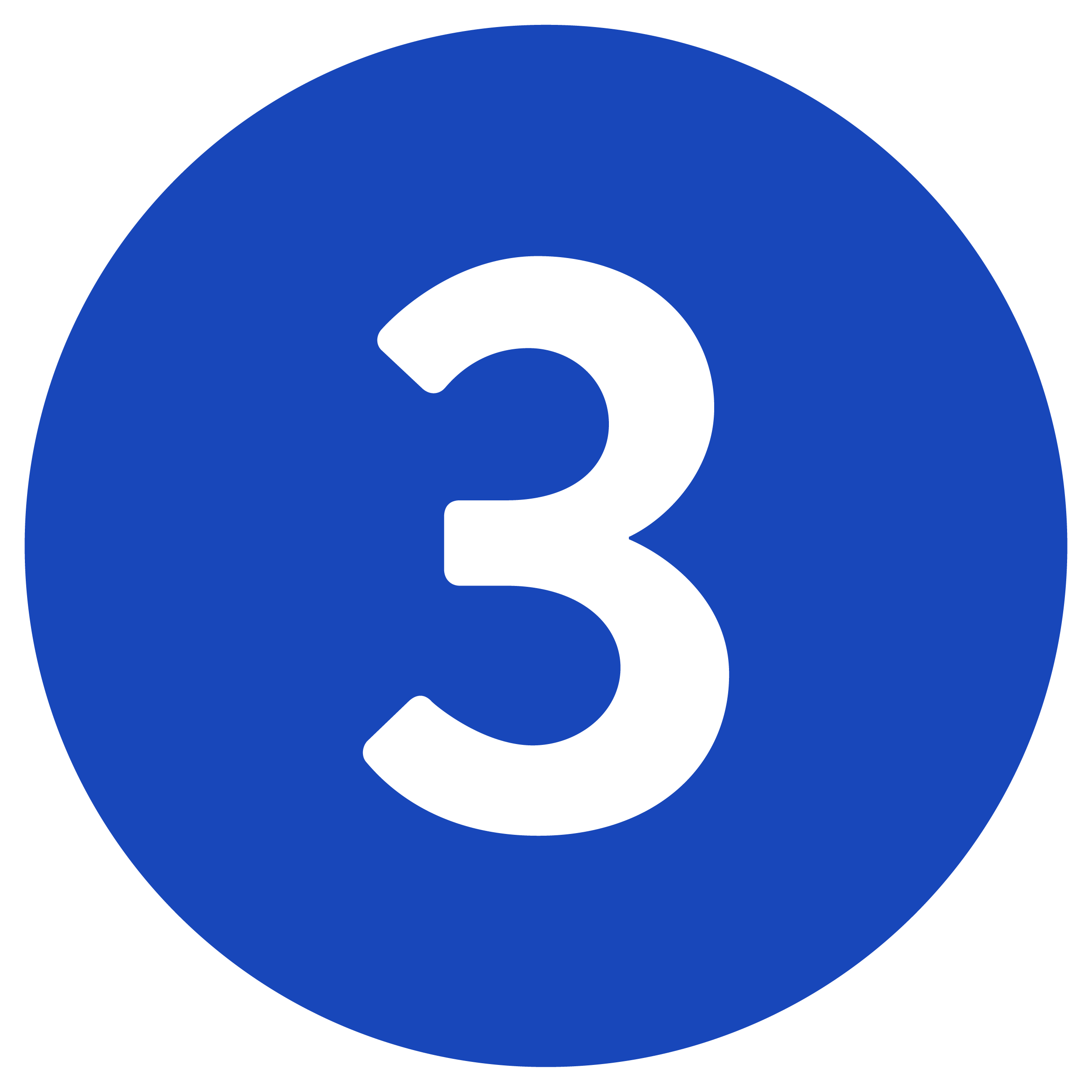 Number Three In Blue Circle